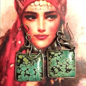 Jewelry - Vintage Red Mountain turquoise/art nouveau earring